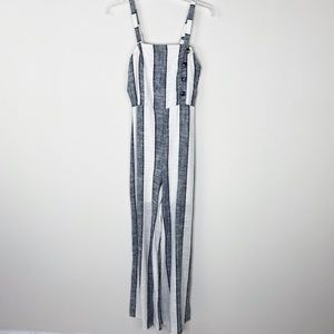 Women black and white stripes jumpsuit